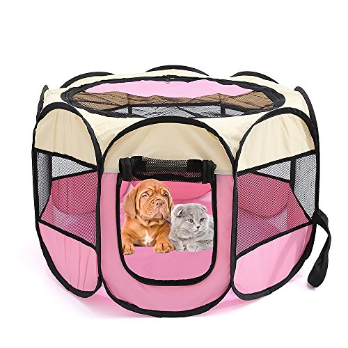 "Petoice 2-Door Foldable Portable Waterproof Pet Playpen Kennel Exercise Pens for Dogs Cats Rabbits Outdoor Indoor,Pink,M(35.4""L x 35.4""W x 23.6""H)"