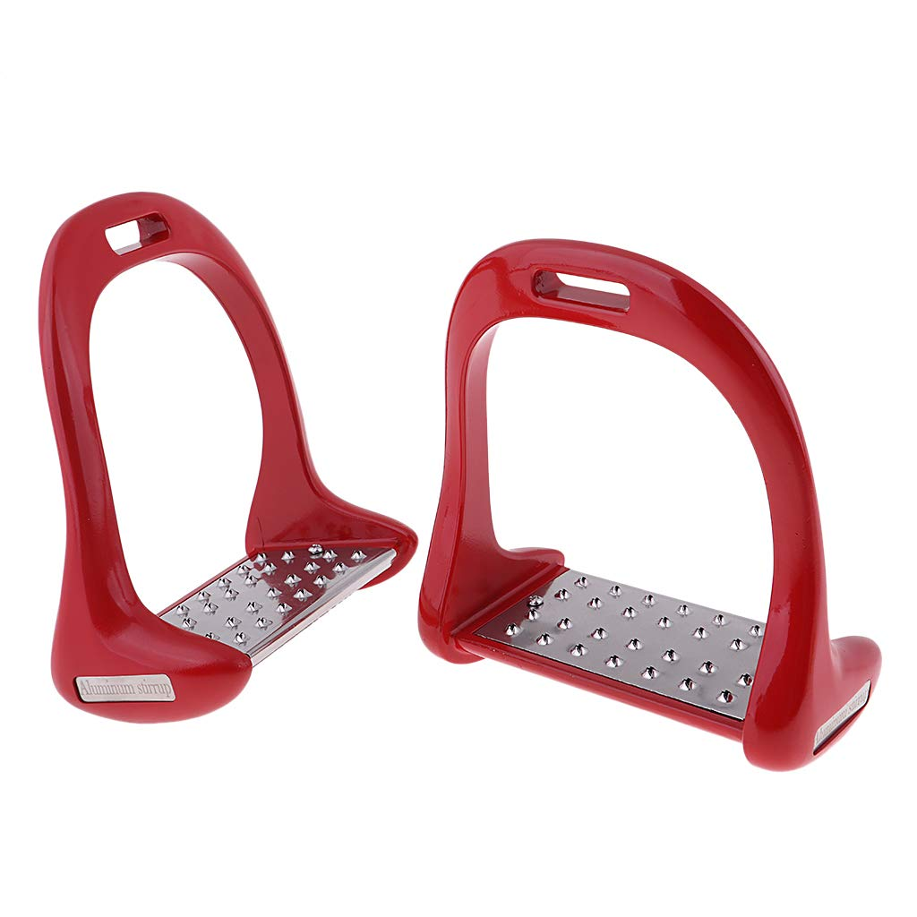 Red D DOLITY 1Pair Horse Saddle English Stirrups Horse Riding 4 color