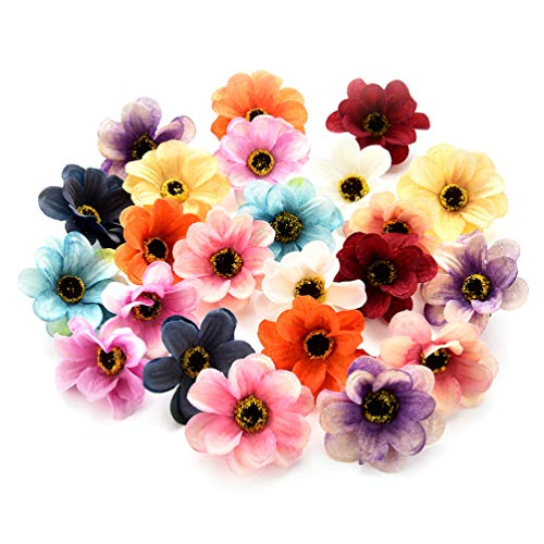 Fake flower heads in bulk wholesale for Crafts Silk Sunflower Daisy Peony Handmake Artificial Flower Heads Wedding Gifts Decoration DIY Wreath Gift Scrapbooking Craft Flower 50pcs 6cm (Colorful)