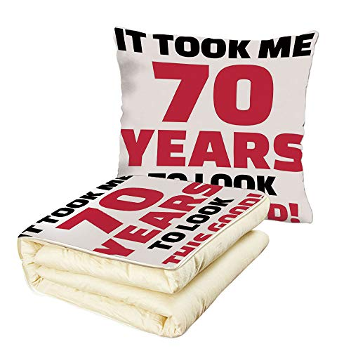 iPrint Quilt Dual-Use Pillow 70th Birthday Decorations Party