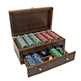 Franklin Mint Poker Chip Set in Beautifully Crafted USA Made Wood Case
