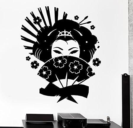 Ventilador de pared de vinilo juego de Japón Geisha oriental mujer ...