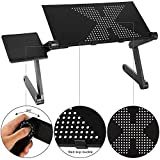 Vividy Adjustable Laptop Stand Desk w/Mouse Pad, Ergonomics Design Bed Tray Book Stand, Aluminum Portable Foldable Laptop Table Black