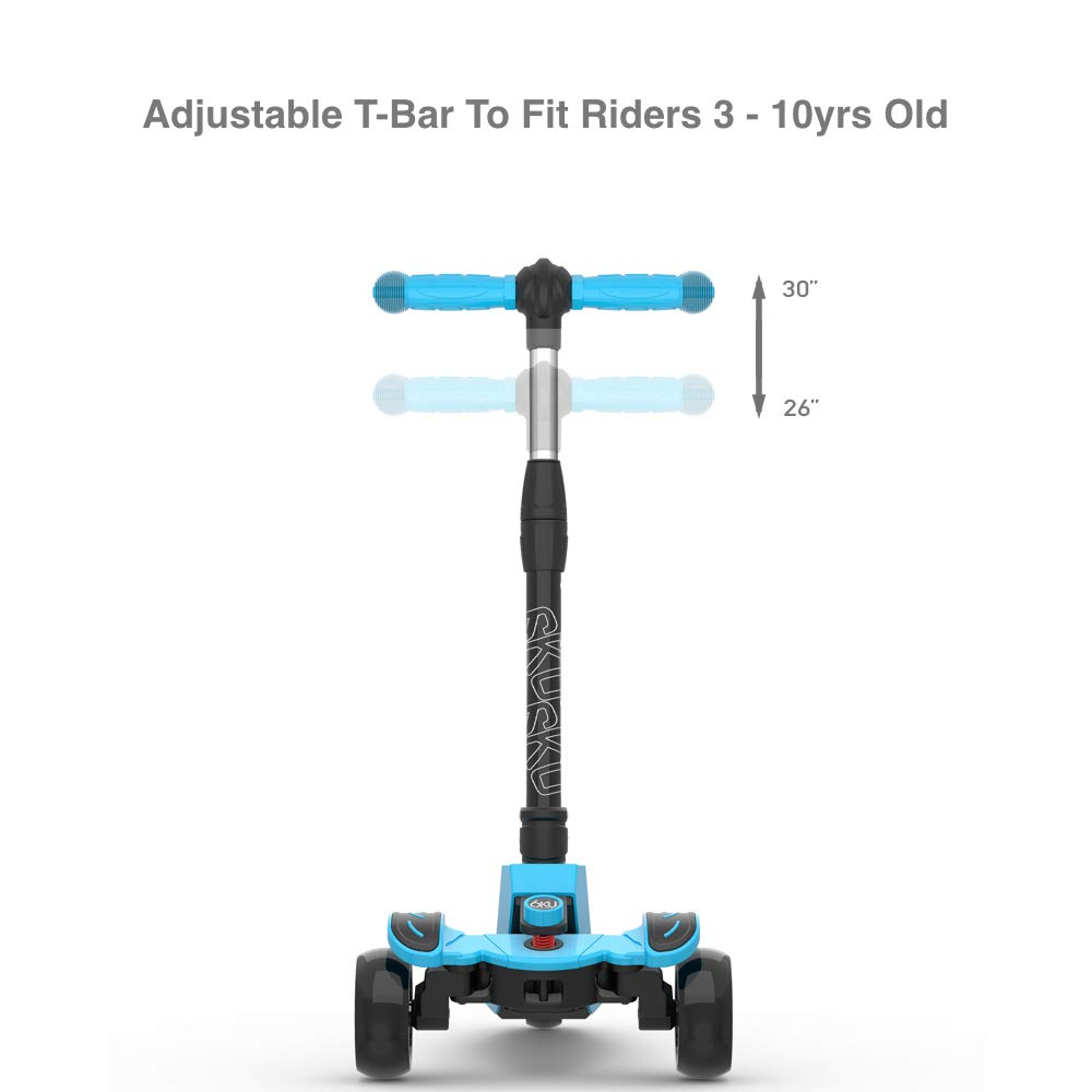 6KU Kids Kick Scooter with Adjustable Height, Lean to Steer, Flashing Wheels for Children 3-8 Years Old Blue by 6KU (Image #5)