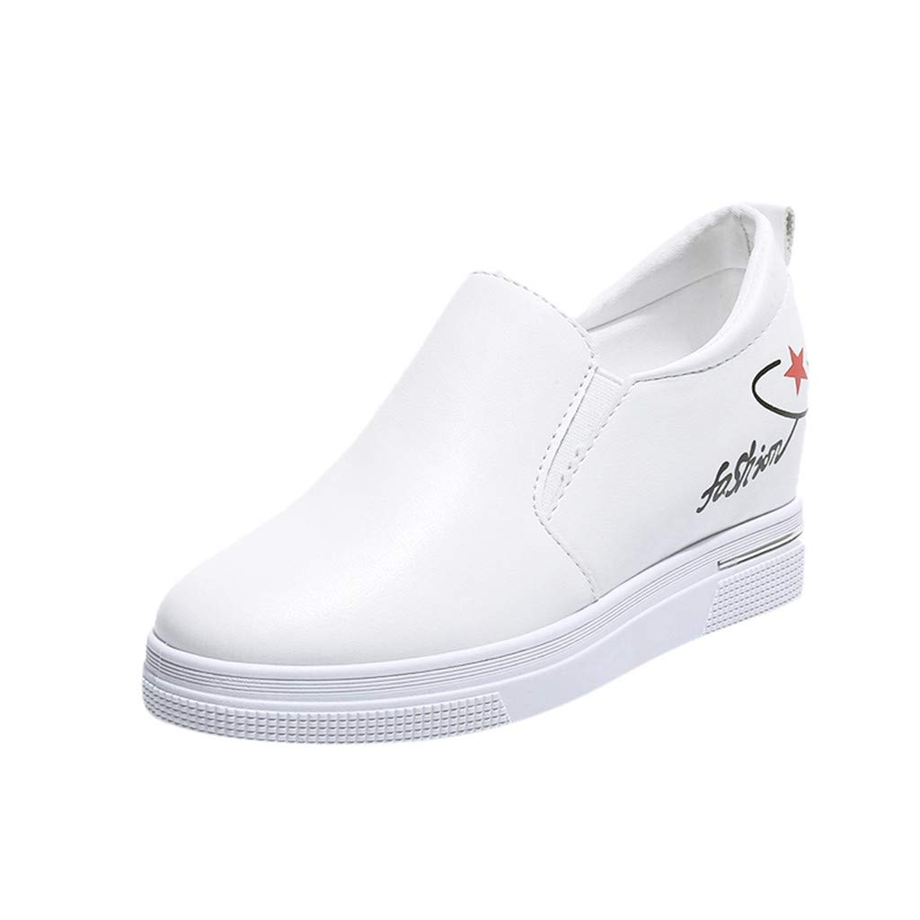 2019 New Women's Shoes, Claystyle Pu Solid Color Straps Casual Sports Shoes Thick Bottom Invisible Heightening Shoes White by Claystyle Shoes (Image #1)