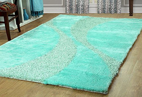 Furnish my Place Hand Woven Soft and Plush Modern Silky Shag Area Shag for Indoor Home Bedroom Living/Dining Room, Aqua Two Tone 815 by Furnish my Place