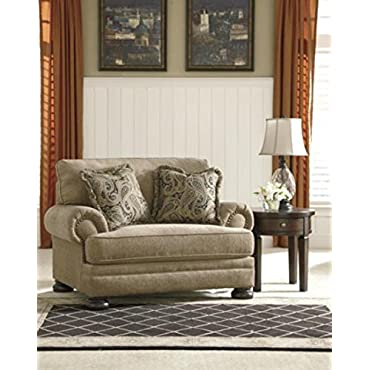 Ashley Furniture Signature Design Keereel Chair and a Half Plush Upholstery Traditional Sand