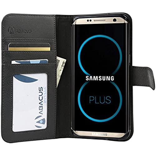 Abacus24-7 Samsung Galaxy S8 Plus Case, Wallet with RFID Blocking Leather Flip Cover, Black Sales