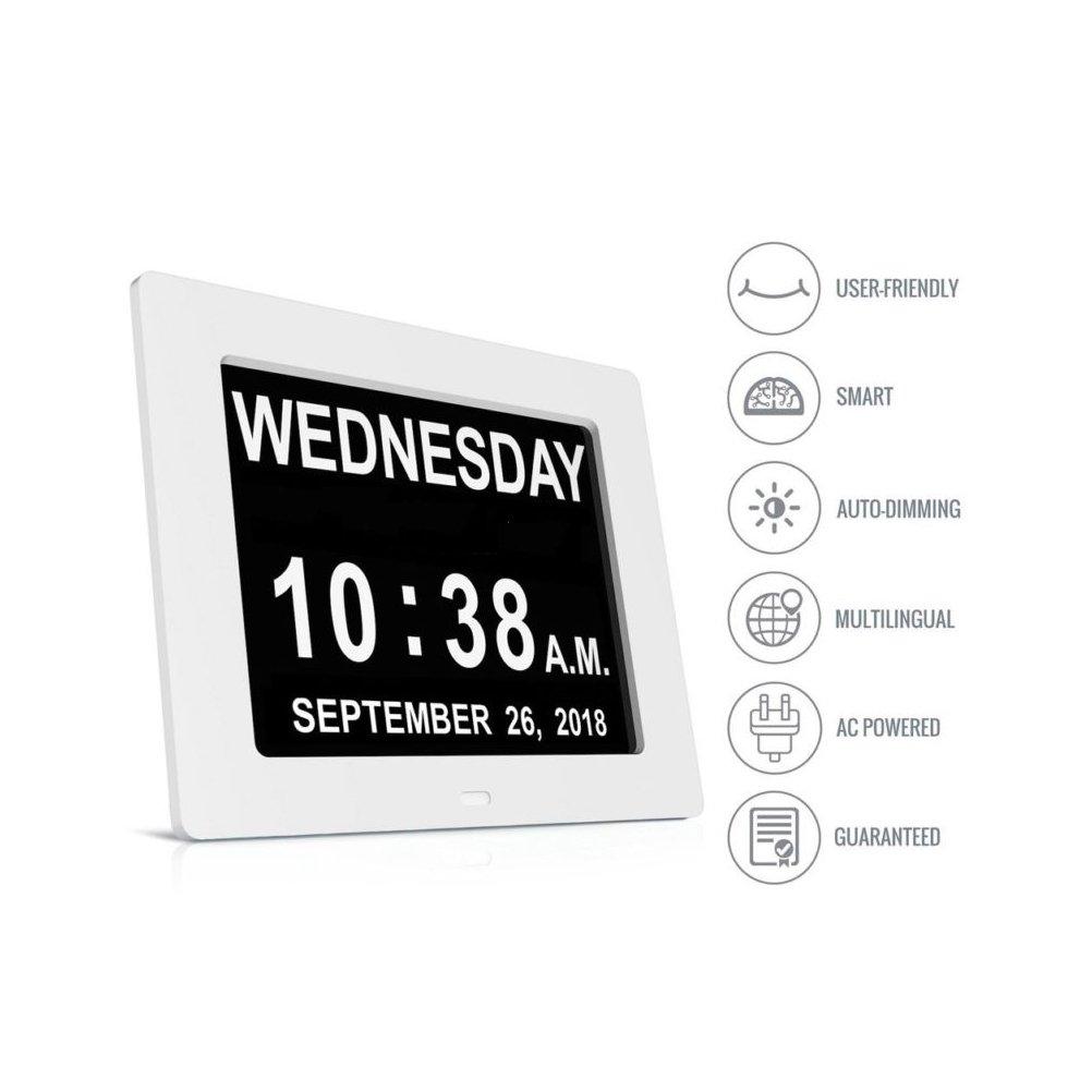 LEDMOMO 7-Zoll-Digitaluhr LED-Wand-Tischkalender mit EU-Stecker wei/ß