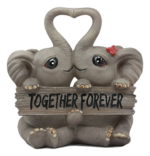 "Ebros Together Forever Kissing Elephant Couple Statue 6.25"" Long Pachy Lovers with Heart Shaped Trunks Figurine Love Elephants Talisman of Luck Collectible (1)"
