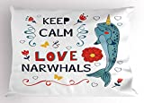 Ambesonne Narwhal Pillow Sham, Pop Culture Phrase with Unicorn of The Ocean Design Colorful Cartoon Character, Decorative Standard Size Printed Pillowcase, 26 X 20 inches, Multicolor
