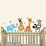 Mini Jungle Joy, Animal Wall Decals, Nursery Wall Art, Elephant, Lion, Giraffe, Monkey