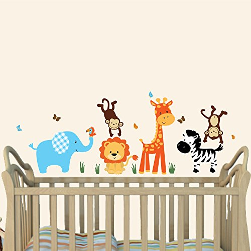 Mini Jungle Joy, Animal Wall Decals, Nursery Wall Art, Elephant, Lion, Giraffe, Monkey by Nursery Decals and More