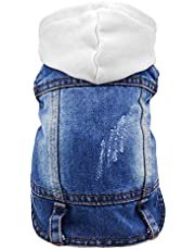 Sild Pet Clothes Dog Jeans Jacket Cool Blue Denim Coat Small Medium Dogs Lapel Vests Classic Hoodies Puppy Blue Vintage Washed Clothes (S, White)