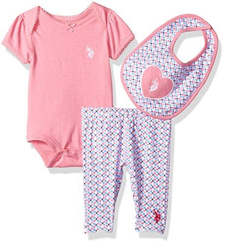 U.S. Polo Assn. Baby Girls Creeper, Bib or Hat and Legging Set
