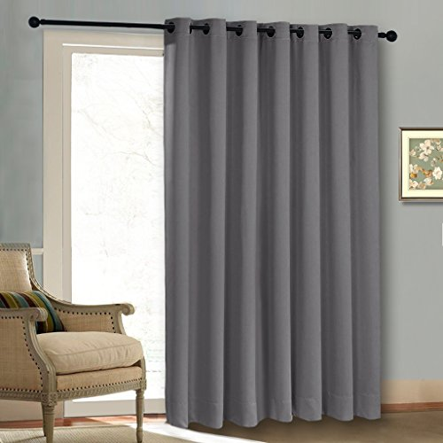 Thermal Patio Door Curtain Panel Wide Width Solid Grey Blackout Curtains  Drapes Sliding Door Draperies Extra Wide Curtains By Nicetown Gray