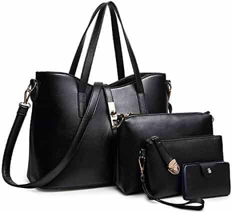 SIFINI Women Fashion PU Leather Handbag+Shoulder Bag+Purse+Card Holder 4pcs Set Tote Handbag