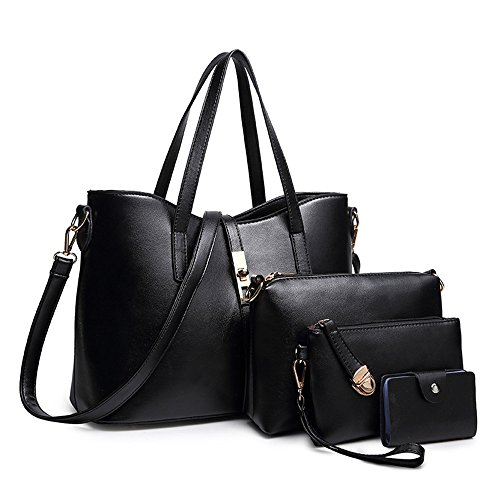 SIFINI Women Fashion PU Leather Handbag+Shoulder Bag+Purse+Card Holder 4pcs Set Tote (Fashion Pu Shoulder Bag)