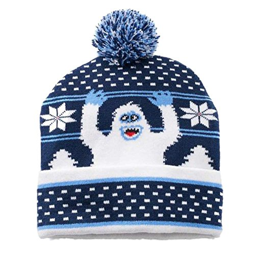 Abominable Snowman Hat (Rudolph Mens Blue Pom Bumble Christmas Beanie Abominable Snowman Winter Hat)