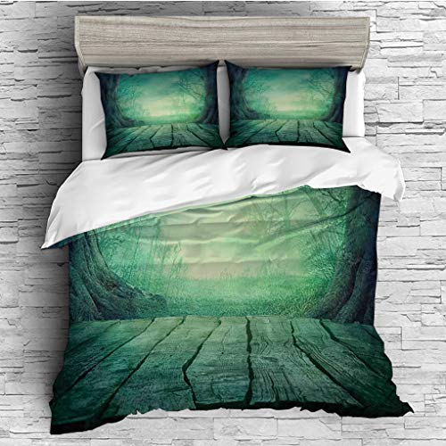 3 Pieces (1 Duvet Cover 2 Pillow Shams)/All Seasons/Home Comforter Bedding Sets Duvet Cover Sets for Adult Kids/Singe/Gothic,Spooky Scary Dark Fog Forest with Dead Trees and Wooden Table Halloween Hor ()