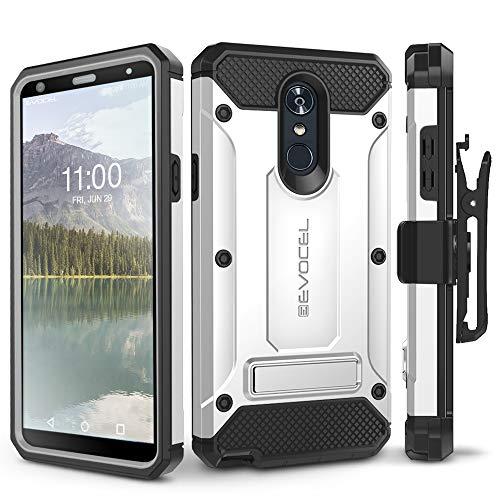 (LG Stylo 4 Case, Evocel [Explorer Series Pro] Premium Full Body Case with Glass Screen Protector, Belt Clip Holster, Metal Kickstand for LG G Stylo 4 (2018), Silver)
