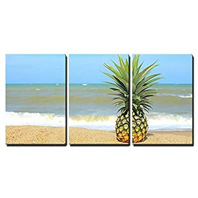 3 Piece Canvas Wall Art - Pineapple on The Beach with Blue Sky - Modern Home Art Stretched and Framed Ready to Hang - 24