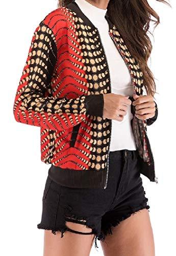 Delle Manica Outwear Tasca L'energia Con Lunga Settimana Fine Cerniera Di Collare Stampa Pattern12 Donne Alzarsi vwqqxaOnd