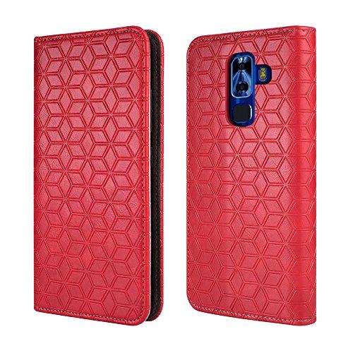 NUU G3 Case, [Kickstand] [Card Slot+Side Pocket] Premium Soft PU Color Matching Leather Wallet Cover Flip Case Protective Case for NUU G3 (Red)