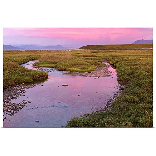 GREATBIGCANVAS Poster Print Sunset Light Reflecting in Sagavanirktok River with covid 19 (Trans Alaska Pipeline Brooks Range coronavirus)