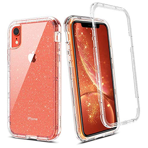 (BENTOBEN Case for iPhone XR, Clear Crystal Glitter 3 in 1 Heavy Duty Shockproof Rugged Hybrid Hard PC Cover Soft Bumper Slim Full Body Protective Phone Cases for iPhone XR Transparent Silver Glitter)