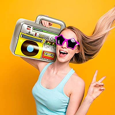 4 PCS Inflatable Boombox - 80s 90s Party Decorations Supplies Inflatable Boom - Rappers Hip Hop B-Boys Costume Accessories Box(16.5 Inches): Toys & Games