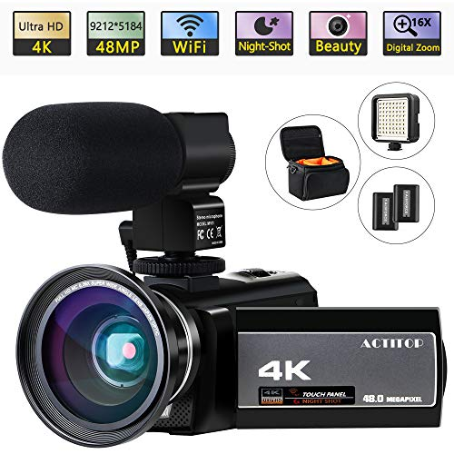 """Video Camera 4K Camcorder Ultra HD 48MP WiFi Night Vision Digital Vlogging Cameras Recorder with Microphone for YouTube 3.0"""" Touch Screen 16X Digital Zoom, Wide Angle Lens, LED Light and 2 Batteries"""