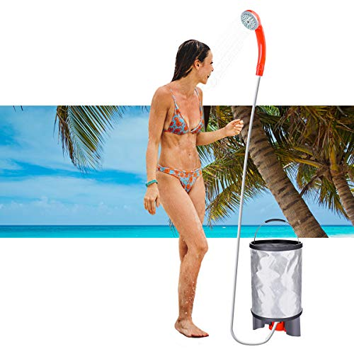 Baban Portable Outdoor Shower+Collapsible Bucket, Camping Shower Battery Shower Powered Handheld Outdoor Shower Rechargeable Camping Showerhead Turns Water from Bucket/Sink Into Steady, Gentle Stream by Baban