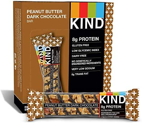 KIND Bars, Peanut Butter Dark Chocolate, Gluten Free, 1.4 Ounce Bars, 12 Count (Packaging May Vary)