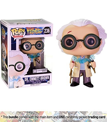 Funko Dr. Emmett Brown (Lootcrate Exclusive) POP! Movies x Back to The Future Vinyl Figure + 1 Classic Sci-fi & Horror Movies Trading Card Bundle -