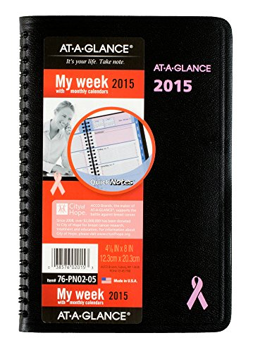 A-glance Quicknotes Weekly - AT-A-GLANCE Weekly and Monthly Appointment Book 2015, QuickNotes Special Edition, 4.88 x 8 Inch Page Size, Black (76-PN02-05)