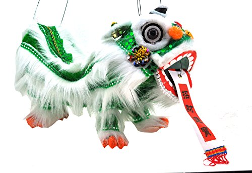 Mandala Crafts Chinese Hand Marionette Puppet (Green Lion Marionette)