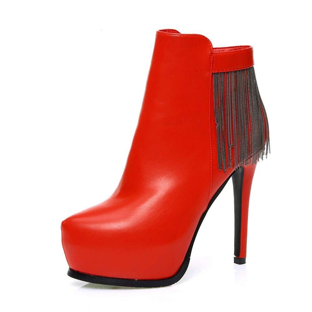BYUYAN Stiefel Herbst Und Winter Kurze Stiefel Sexy Nachtclub Ultra Hoch Und 12 cm Ankle Stiefel Fein Mit Wasserdichten Taiwan Weibliche Stiefel Stream Der Rote Schuhe
