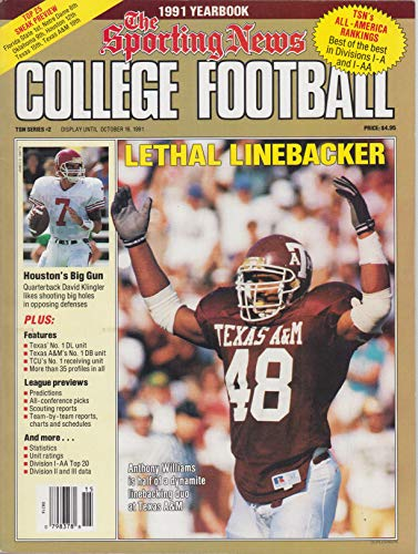 1991 Sporting News College Football Yearbook ~ Texas A&M Anthony Williams cover