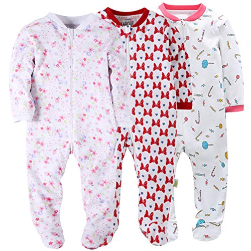 Floral Baby Girls Footed Pajamas Cotton Zip Front Sleep and Play Long Sleeve Sleeper 18 Months (18 Girl Month Footed Pajamas)