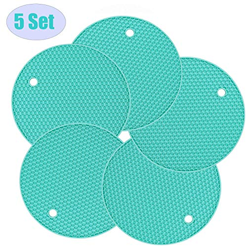 Thickened Silicone Trivets Pot Holder and Oven Mitts,Trivets for Hot Dish,Nonslip Insulation Honeycomb Rubber Hot Pads for Countertop,Multi-Purpose,Flexible Mats Heat Resistant Up to 464°F,Set of 5 ()