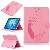 LEMORRY Samsung Galaxy Tab S2 9.7 (T813, T819) Case Leather Flip Wallet Pouch Slim Fit Bumper Protection Magnetic Strap Stand Card Slot Soft TPU Cover for Galaxy Tab S2 (9.7), Lucky Feather Rose