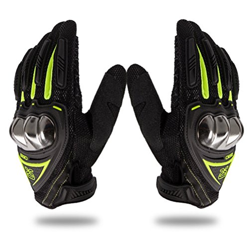 Wonzone Steel Reinforced Knuckle Motorcycle Gloves Motorbike Touch Screen Powersports Racing Textile Safety Summer Outdoor Sports Gloves (Green, Medium)