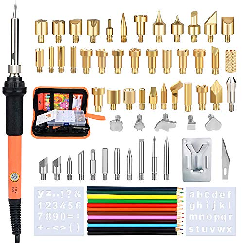 71pcs Wood Burning Kit Tool Professional Pyrography Set with Thermal Control Craft Pen,54 Woodburning Tips,12 Colorful Pencils,Stencil,Carry Case for Wood Embossing/Carving/Soldering Adult Beginner