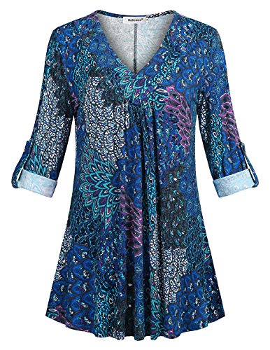Helloacc 3/4 Sleeve Tops for Women,V Neck Blusa Long Tunics Plus Size Teens A-Line Workout Trapeze Clothes Breathable Daily Athleisure Wear Shirts Asymmetrical Layered Tops Classy Blue Peacock XXL