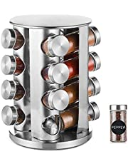 DEFWAY Revolving Spice Rack Organizer - Stainless Steel Spice Tower with 16 Glass Jars, Rotating Standing Cabinet Seasoning Rack for Kitchen (Round)
