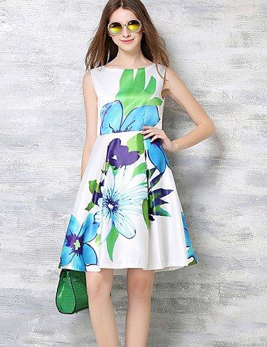 PU&PU Robe Aux femmes Trapèze Vintage,Imprimé Col Arrondi Mi-long Polyester , white-m , white-m
