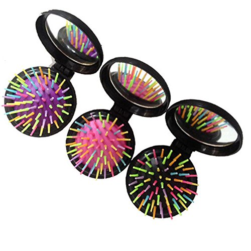 Price comparison product image NPLE--Mini Round Folding Comb With Mirror New Girls Travel Hair brush Black