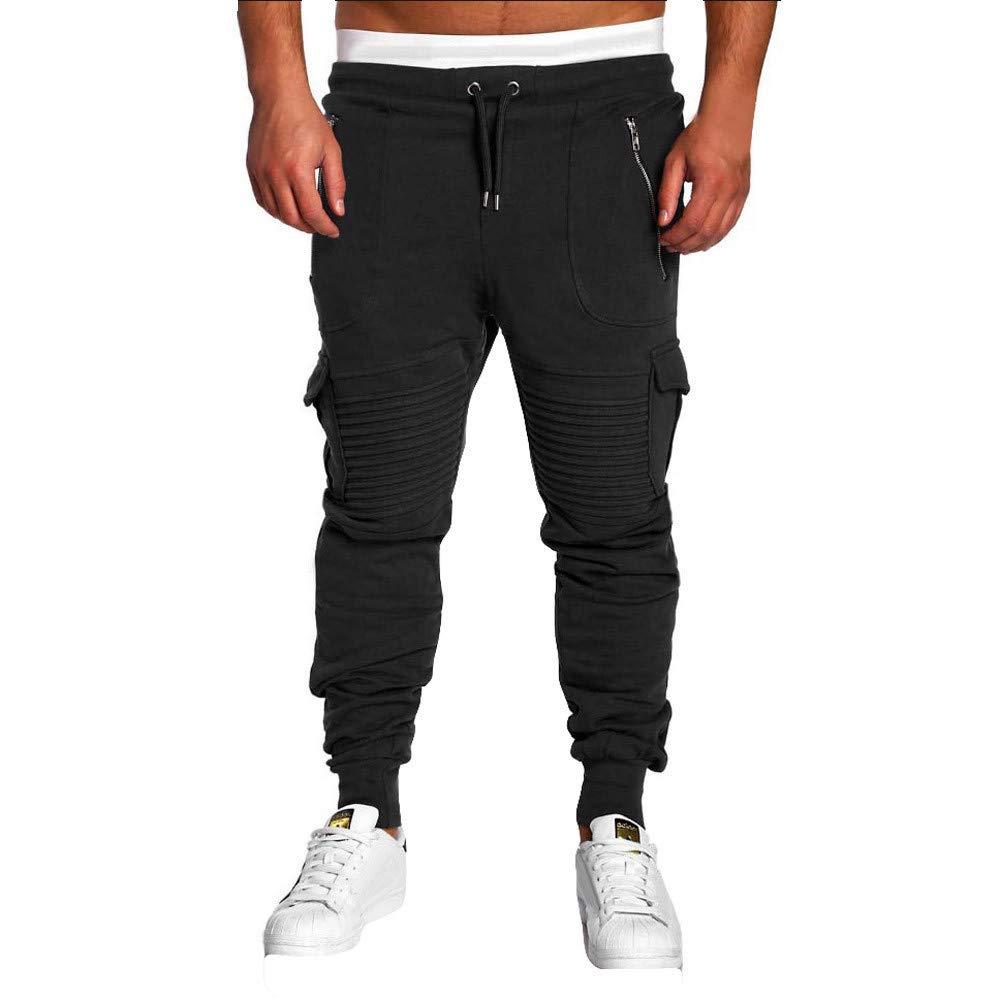 PASATO Clearace Sale! Men Fold Pocket Overalls Casual Pocket Sport Work Casual Trouser Pants(Black, L)