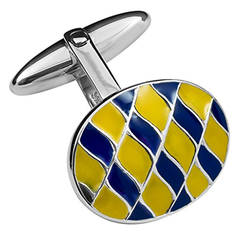 Silver Tie Sterling Enamelled Clip Cufflinks Yellow Blue amp; Box Set vwq6Fw